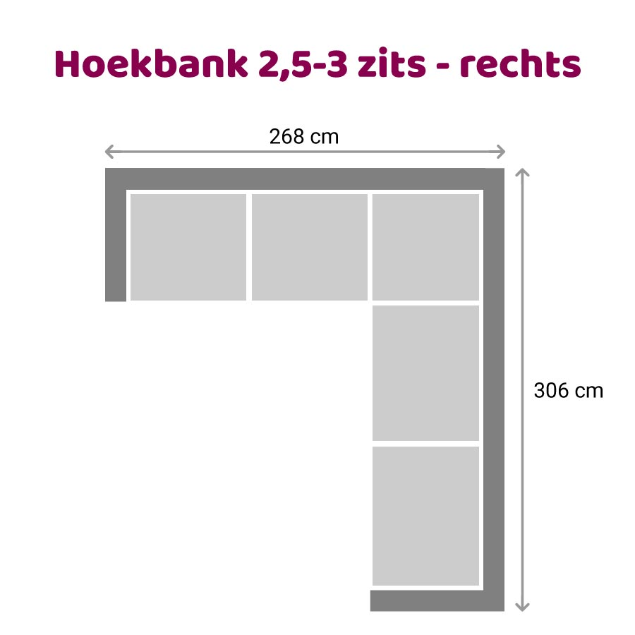 Vettel - Hoekbank 2,5-3 zits rechts