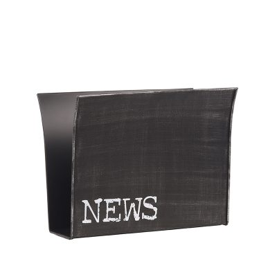 LABEL51 Magazinehouder antiek zwart metaal 35x14x30 cm